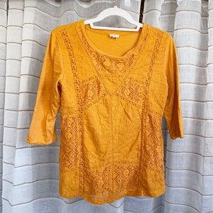 Anthropologie Eze Sur Mer Mustard Yellow Lace Top